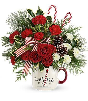 North Pole Cafe Mug Bouquet Fresh Arrangement