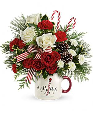 North Pole Cafe Mug Flower Arrangement in Riverside, CA | Willow Branch Florist of Riverside