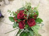 Nosegay of Red Roses and textures Bridal Bouquet