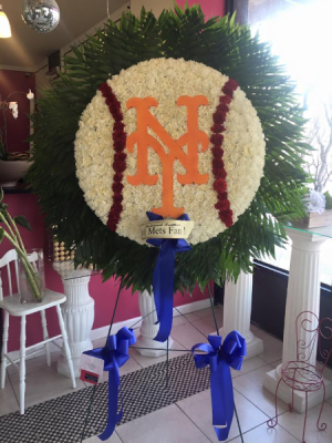 NY Mets Logo Funeral Flower Personalized Funeral Arrangement in Bronx, NY | Bella's Flower Shop