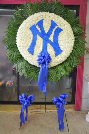 NY Yankees Logo Funeral Flowers Custom Funeral Arrangement in Bronx, NY | Bella's Flower Shop