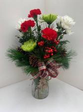 O Christmas Tree vase arrangment