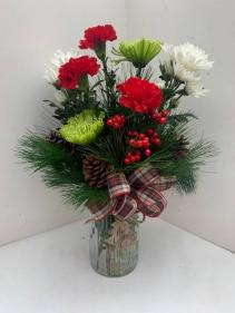 O Christmas Tree vase arrangment