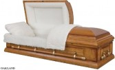 OAKLAND CASKET Solid Oak; Satin Finish; Almond Velvet