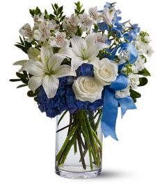 Oasis of White and Blue Vase Arrangement