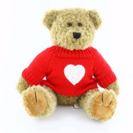 Oatmeal Bear With Heart Sweater