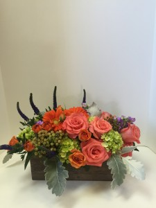 Orange Crush Oblong wooden Box in Northport, NY | HENGSTENBERG'S FLORIST