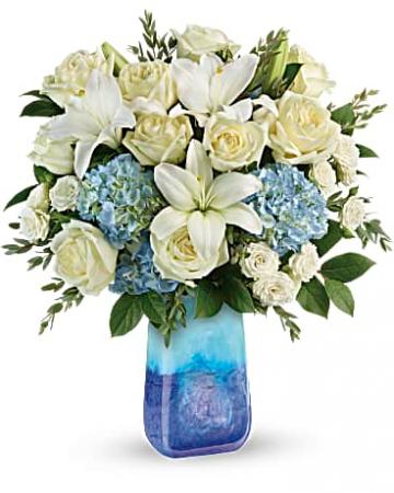 Ocean Sparkle Fresh Flowers in gift vase