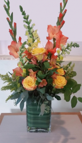 October blooms Tall vase arrangement