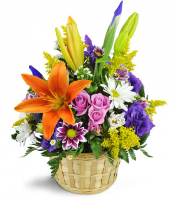 Ode to Springtime Basket One-Sided Floral arrangement