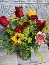 Congrats Bouquet Maroon and Gold in a Clear Vase