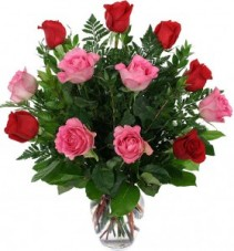 """SWEET DEVOTION"" 6 RED AND 6 PINK ROSES arranged in a vase!!"