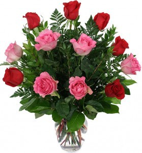 """""""SWEET DEVOTION"""" 6 RED AND 6 PINK ROSES arranged in a vase!!"""