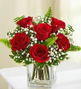 """BEST SELLER"" 6 RED ROSES IN A VASE with baby's breath"