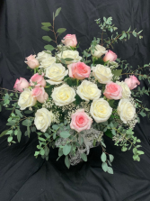 Old Fashioned 24 Pink and White Roses Arranged in Vase