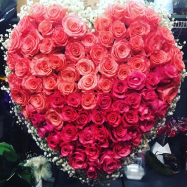 Ombré rose Heart