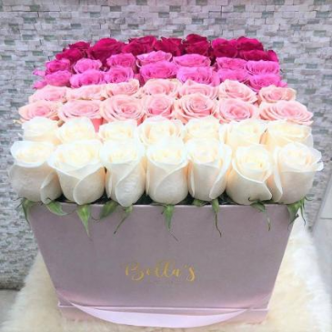 OMBRE ROSE BOX -49 ROSES LARGE PINK SUADE BOX
