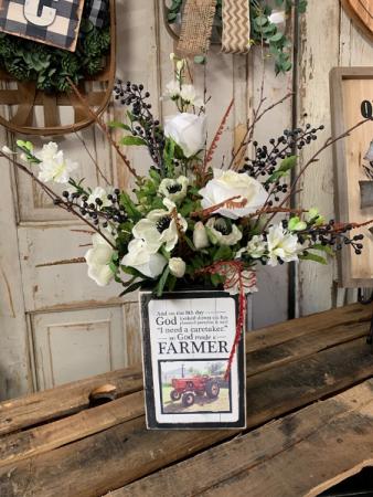 On the 8th day God made a Farmer Silk arrangement in custom made box
