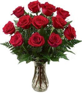 ONE DOZEN  MEDIUM ST RED ROSES ARRANGEMENT