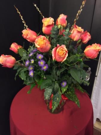 One dozen 3-D garden roses
