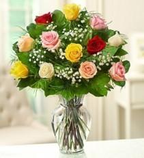 one dozen assorted long stem roses assorted roses