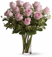 One Dozen Blush Rose Arrangement