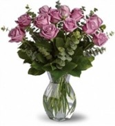 One Dozen LAVENDER Roses Arrangement