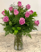 One Dozen Lavender Roses Rose Arrangement