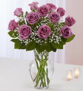 One Dozen Lavender Roses Vased Arrangement