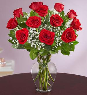 ONE DOZEN LONG STEM PREMIUM ROSES VASED  Finest long red roses  in Ozone Park, NY | Heavenly Florist