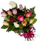 PRESENTATION  BOUQUET  One Dozen Long Stem Mixed Roses  ((PICKUP ONLY))