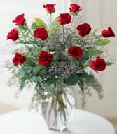 One Dozen Long Stem Red Roses Valentine's Day