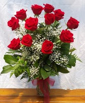 One Dozen Long Stem Red Roses Vase Arrangement