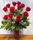 One Dozen Long Stem Red Roses Vase Arrangement