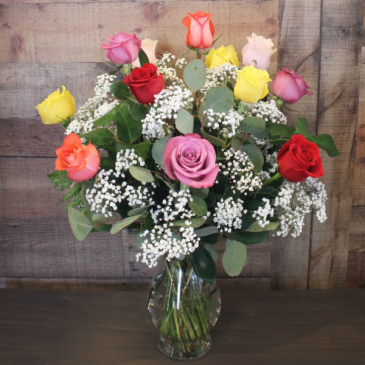 One Dozen Mixed Colored Roses