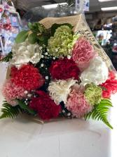 One Dozen Mixed Colors Carnations  Extra Fancy  One Dozen Mixed Carnations Bouquets ((Pick Up Only))