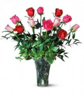 One Dozen Multi Colored Roses Rose Arrangement
