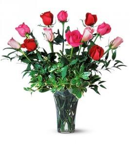 One Dozen Multi Colored Roses Rose Arrangement