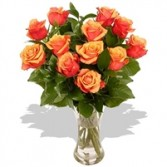 One Dozen ORANGE Roses Arrangement