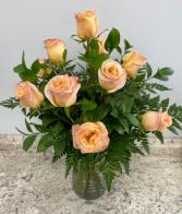 One Dozen Peach Roses Rose Arrangement