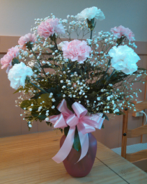 One Dozen Pink and White Carnations Table Arrangement