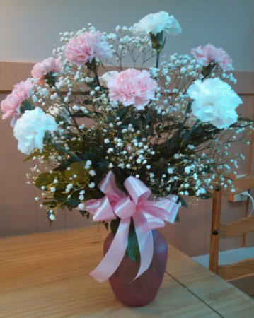 One dozen pink and white carnations table arrangement in gladwin mi one dozen pink and white carnations table arrangement mightylinksfo