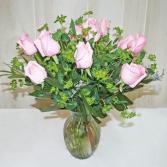 One Dozen Pink Roses-Medium Stem MEDIUM STEM