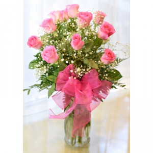One Dozen Pink Roses Roses