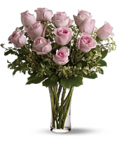 One Dozen Pink Roses Vased Arrangement
