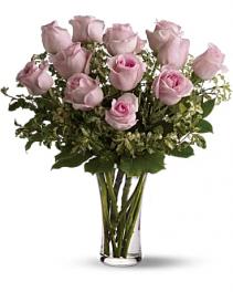 One Dozen Colored  Roses Vased Arrangement