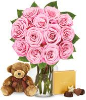 One Dozen Pink Roses with Chocolates and a Bear P.S. I Love You