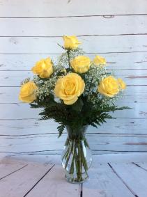 One Dozen Premium Yellow Roses