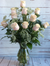 One Dozen Premiun Long Stem Blush Pink Roses