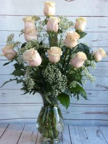 One Dozen Premiun Long Stem Blush Pink Roses